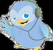 Twitterbird met hoofdtelefoon