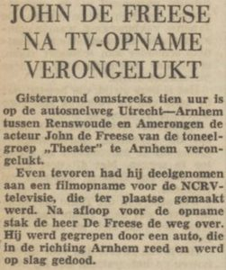 John de Frees verongelukt