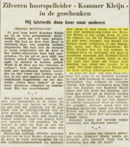 Krantenartikel naar aanleiding van Jubileum van Kommer Kleijn