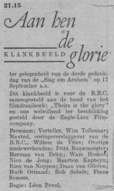 Datum uitzending: zondag 14-09-1947.