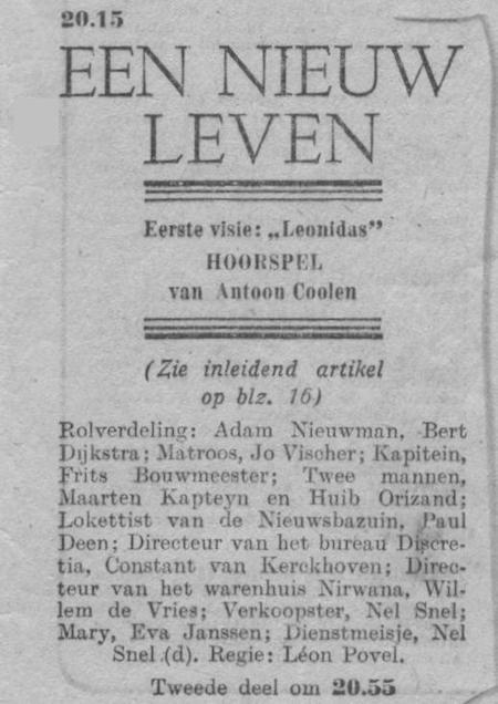Datum uitzending: zondag 31-08-1947.