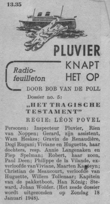 Datum uitzending: zondag 11-01-1948.