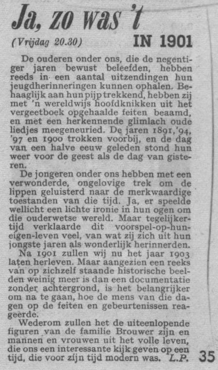 Info bij de uitzending van 23-12-1949.