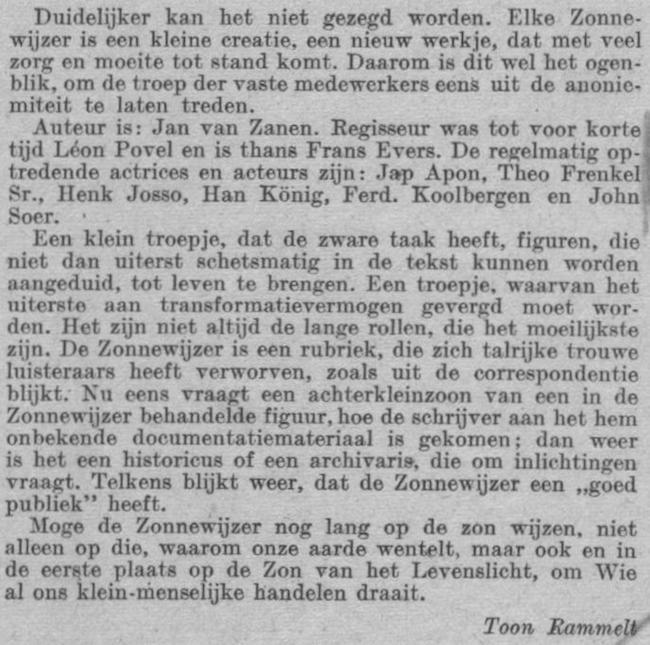 Datum vermelding in de gids: zondag 13-02-1949.