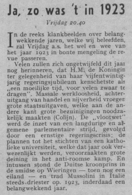 Info bij uitzending van 22-12-1950.