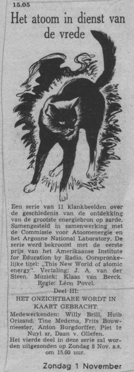 Datum uitzending: deel 3 zondag 01-11-1953.