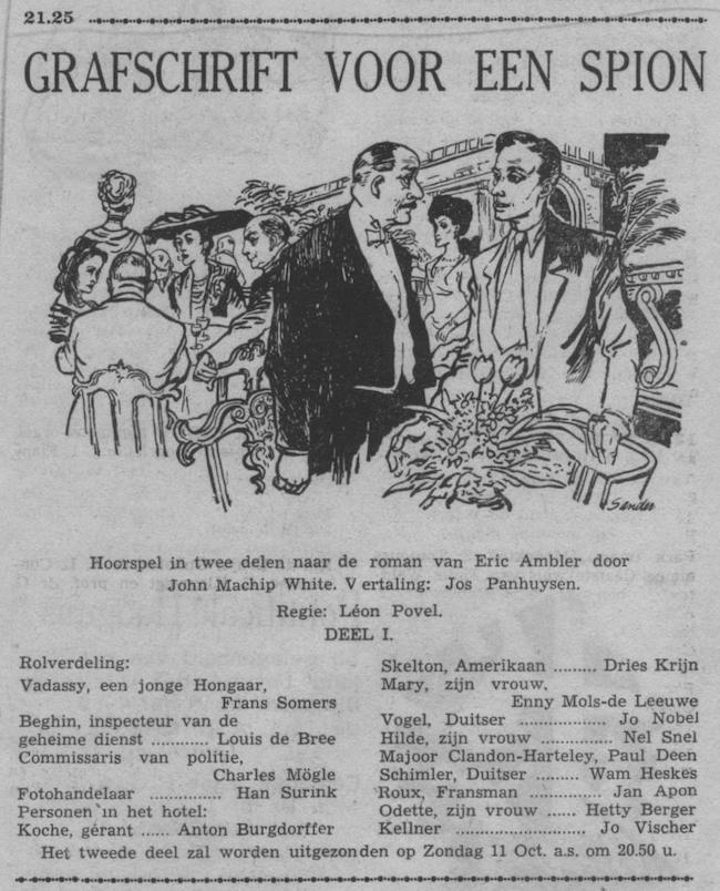 Datum uitzending: deel 1 zondag 04-10-1953.