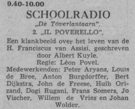 Datum uitzending: donderdag 30-09-1954.
