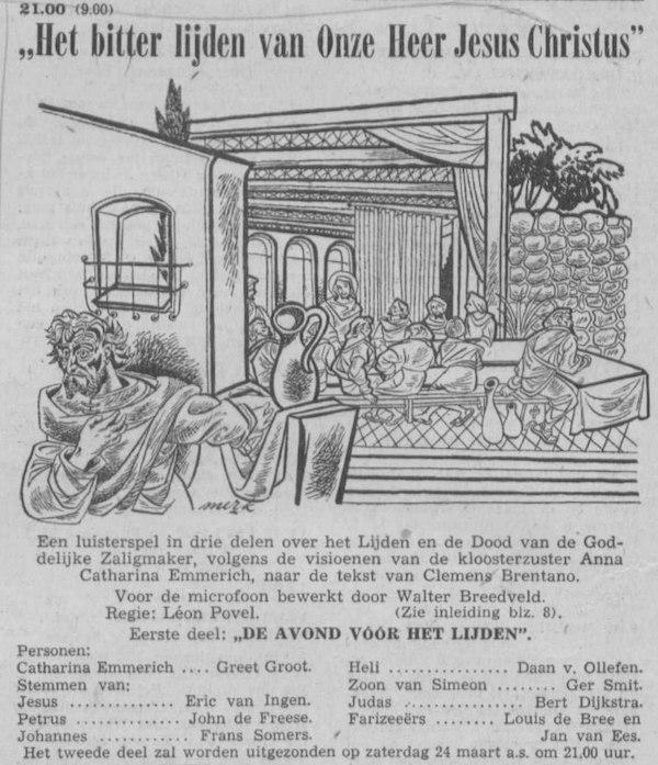 Datum uitzending: Deel 1 zaterdag 17-03-1956.