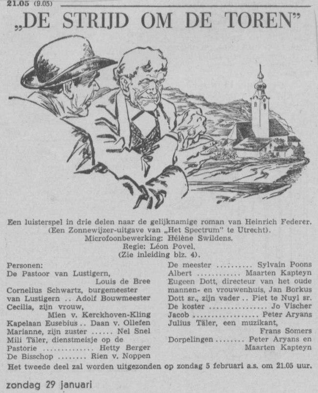 Datum uitzending: deel 1 zondag 29-01-1956.