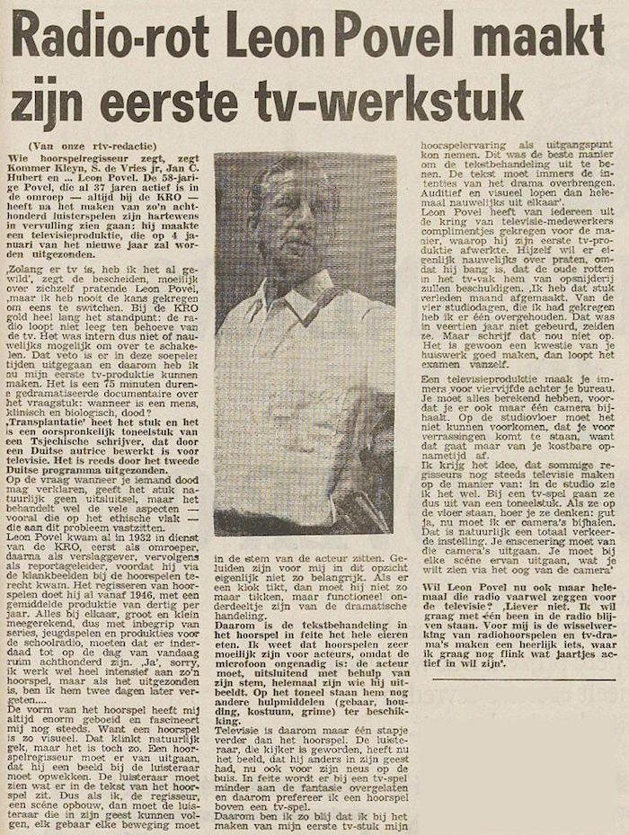 Uit de krant van 29-12-1969.