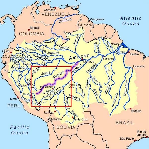 Landkaart van Peru.
