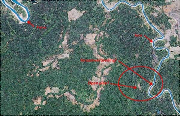 Satellietfoto van de Blauwe Ruïnes.