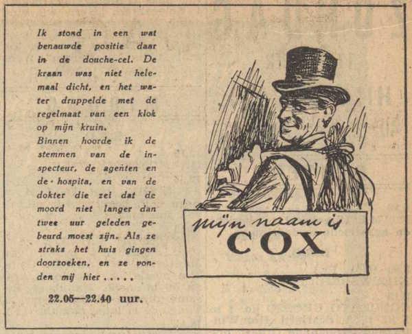 Deel 1. Mag ik mij even voorstellen? Mijn naam is Cox! (1953).