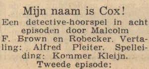 Deel 2 de rolverdeling. (Mijn naam is Cox! (1953).