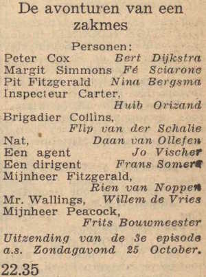 Deel 2 vervolg van de rolverdeling. (Mijn naam is Cox! (1953).