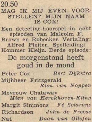 Deel 3 de rolverdeling. (Mijn naam is Cox! (1953).