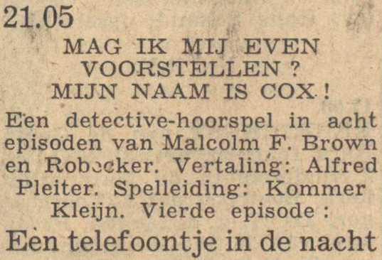 Deel 4 de rolverdeling. (Mijn naam is Cox! (1953).
