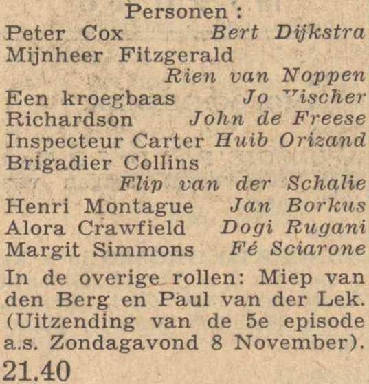 Deel 4 vervolg van de rolverdeling. (Mijn naam is Cox! (1953).