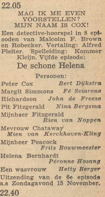 Deel 5 de rolverdeling. (Mijn naam is Cox! (1953).