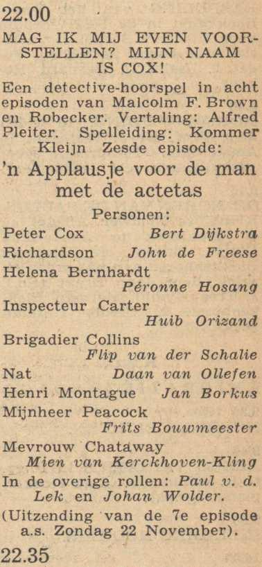 Deel 6 de rolverdeling. (Mijn naam is Cox! (1953).