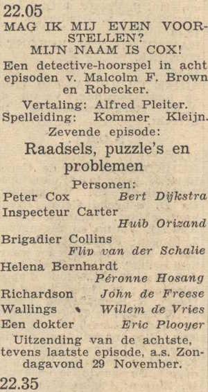 Deel 7 de rolverdeling. (Mijn naam is Cox! (1953).