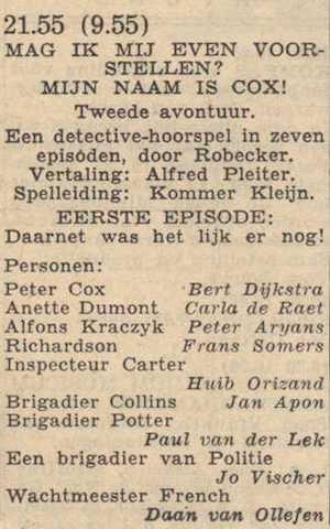 Deel 1 de rolverdeling. (Mijn naam is Cox! (1956).