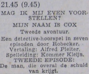 Deel 2 de rolverdeling. (Mijn naam is Cox! (1956).