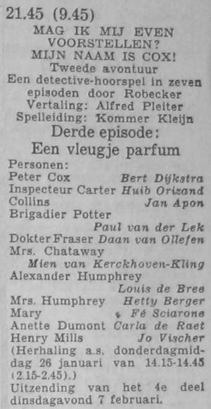 Deel 3 de rolverdeling. (Mijn naam is Cox! (1956).