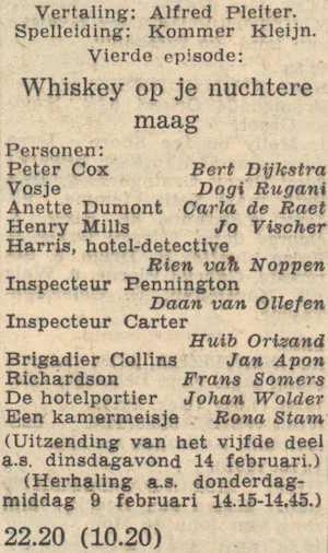 Deel 4 de rolverdeling. (Mijn naam is Cox! (1956).
