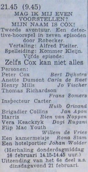 Deel 5 de rolverdeling. (Mijn naam is Cox! (1956).