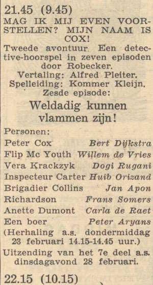 Deel 6 de rolverdeling. (Mijn naam is Cox! (1956).