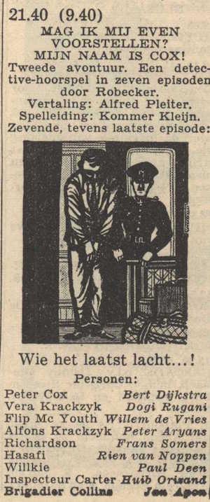 Deel 7. Mag ik mij even voorstellen? Mijn naam is Cox! (1956).
