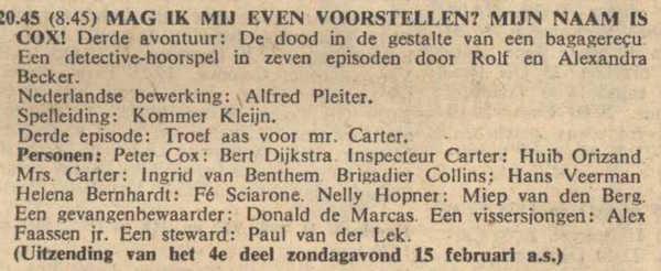 Deel 3 de rolverdeling. (Mijn naam is Cox! (1959).