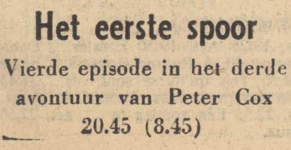 Deel 4 de titel. (Mijn naam is Cox! (1959).