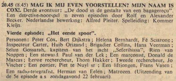 Deel 4 de rolverdeling. (Mijn naam is Cox! (1959).