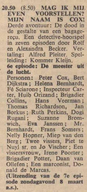 Deel 6 de rolverdeling. (Mijn naam is Cox! (1959).