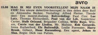 Deel 10 de rolverdeling. (Mijn naam is Cox! (1967).