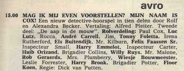 Deel 2 de rolverdeling. (Mijn naam is Cox! (1967).