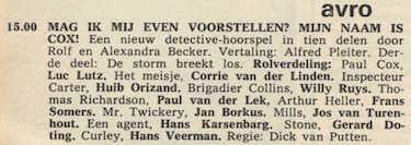 Deel 3 de rolverdeling. (Mijn naam is Cox! (1967).