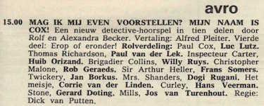 Deel 4 de rolverdeling. (Mijn naam is Cox! (1967).