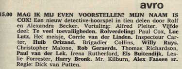 Deel 5 de rolverdeling. (Mijn naam is Cox! (1967).