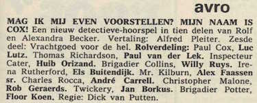 Deel 6 de rolverdeling. (Mijn naam is Cox! (1967).