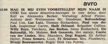 Deel 8 de rolverdeling. (Mijn naam is Cox! (1967).