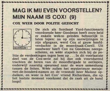 Deel 9 de inhoudsomschrijving (Mijn naam is Cox! (1967).