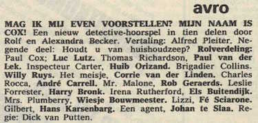 Deel 9 de rolverdeling. (Mijn naam is Cox! (1967).