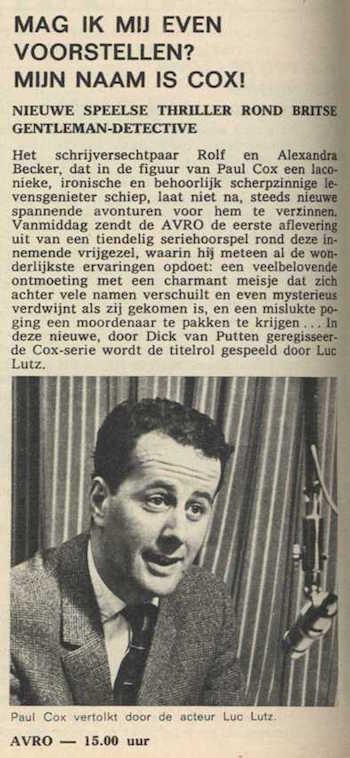 Informatie over de serie. Mijn naam is Cox! (1967).