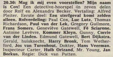 Deel 1 de rolverdeling. (Mijn naam is Cox! (1968).
