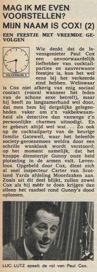 Deel 2 de inhoudsomschrijving (Mijn naam is Cox! (1968).