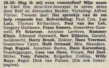 Deel 2 de rolverdeling. (Mijn naam is Cox! (1968).
